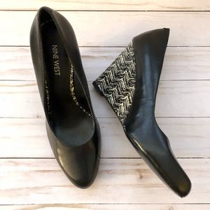 Nine West Roryo wedge heel black white 7